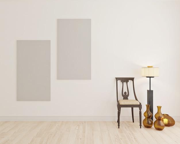 Cadeira etnic na sala branca com tela em branco