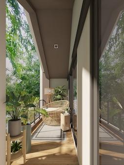 Cadeira lounge com árvore no terraço de madeira, rendeing 3d