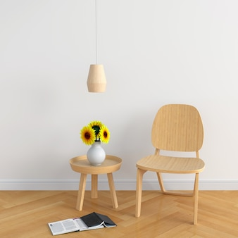 Cadeira madeira, em, sala branca