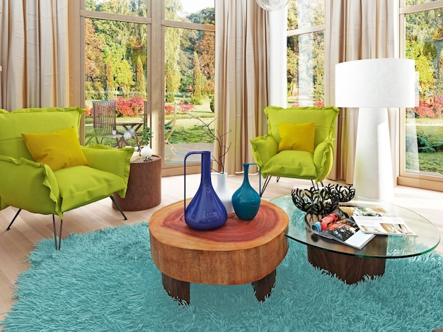 Cadeira moderna e contemporânea verde claro na sala de estar