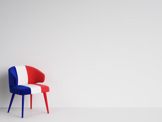 Cadeira na cor da bandeira francesa com espaço de cópia. renderização em 3d