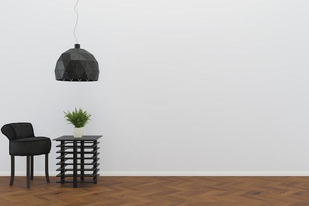 Cadeira preta piso de madeira parede sala modelo fundo interior