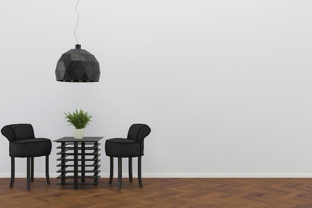 Cadeira preta piso de madeira parede sala modelo mesa fundo interior