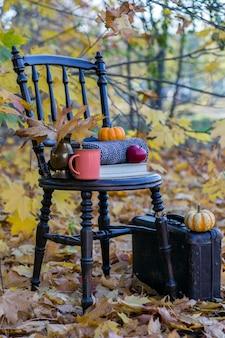 Cadeira velha, uma mala, um livro, abóboras laranja, uma maçã vermelha e uma caneca de laranja nas folhas de outono