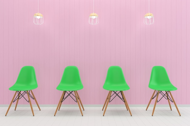Cadeira verde rosa parede pastel branco piso de madeira textura de fundo lâmpada mouckup
