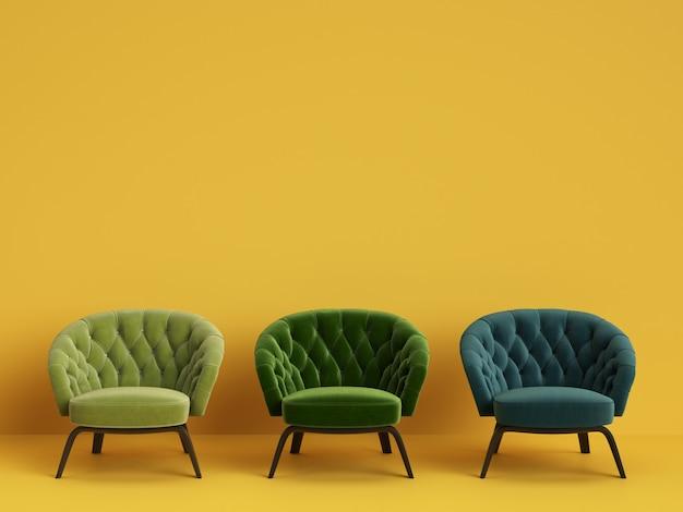 Cadeiras 3d adornadas clássicas em diferentes cores verdes, com espaço de cópia