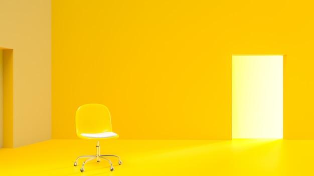 Cadeiras amarelas em uma sala amarela