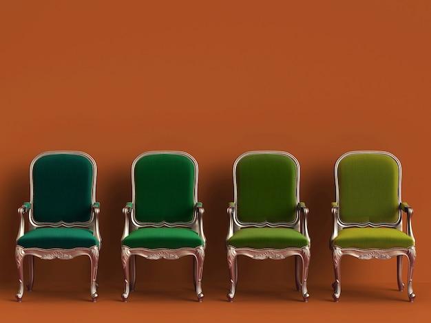 Cadeiras clássicas em diferentes cores verdes na parede laranja com espaço de cópia