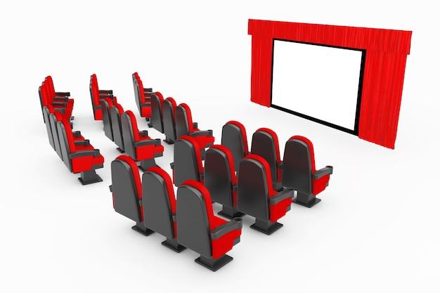 Cadeiras confortáveis do filme vermelho do cinema na frente da tela do cinema com a cortina vermelha aberta sobre um fundo branco. renderização 3d