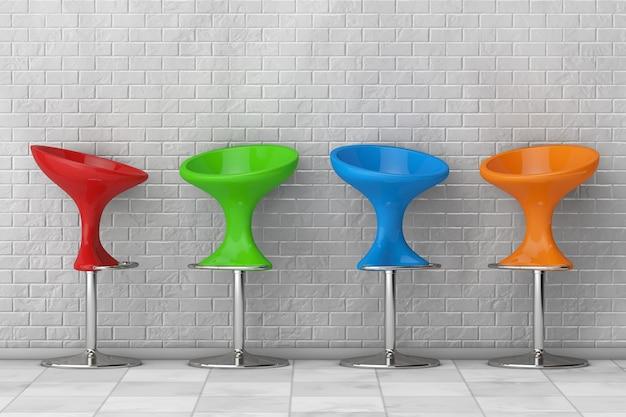 Cadeiras de bar modernas multicoloridas em frente à parede de tijolos. renderização 3d