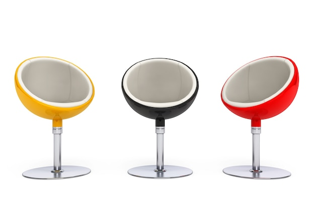Cadeiras de bola modernas em um fundo branco