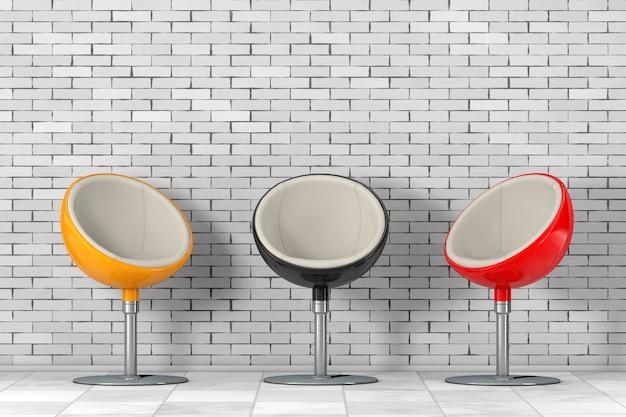 Cadeiras de bola multicoloridas modernas em frente à parede de tijolos. renderização 3d