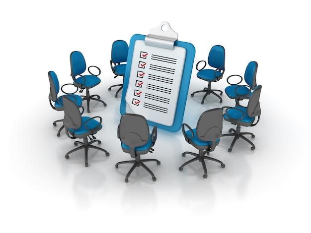 Cadeiras de escritório em torno da área de transferência da lista de verificação