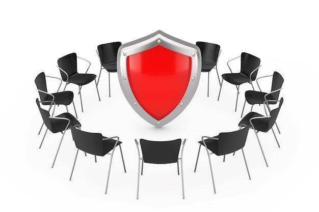 Cadeiras de escritório pretas em torno do escudo de proteção de metal vermelho sobre um fundo branco. renderização 3d