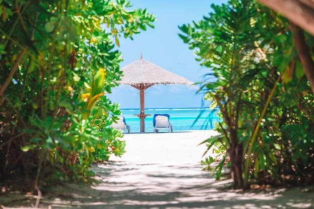 Cadeiras de madeira da praia para férias na praia tropical