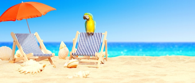 Cadeiras de praia de madeira com papagaio na praia de areia perto do mar. fundo de férias.