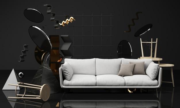 Cadeiras e mesa de centro em textura de madeira com sofá