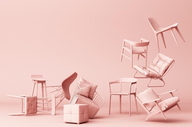 Cadeiras pastel rosa em fundo rosa vazio conceito de minimalismo e instalação arte renderização em 3d
