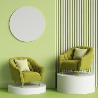 Cadeiras verdes em estilo moderne no carrinho. parede nas cores verdes com pranchas brancas.