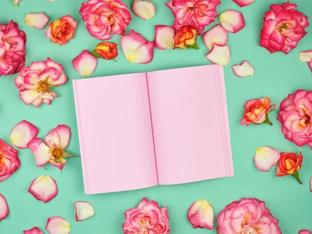 Caderno aberto com páginas em branco-de-rosa