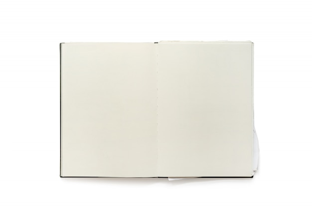 Caderno aberto da placa do vintage isolado no fundo branco.