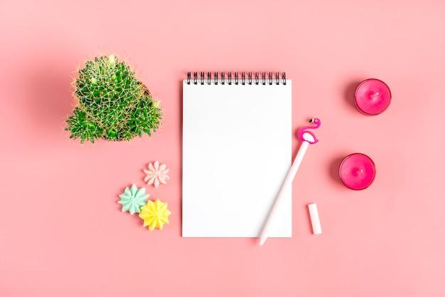 Caderno branco para notas, merengue, caneta - flamingo, suculenta flor em casa no fundo rosa