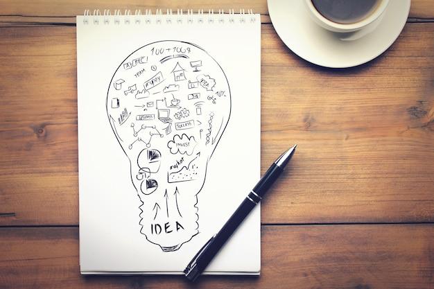 Caderno, caneta e café na mesa de madeira