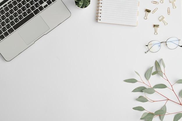 Caderno, clipes, pequena planta doméstica verde em vaso, ramo com folhas e teclado de laptop na mesa branca