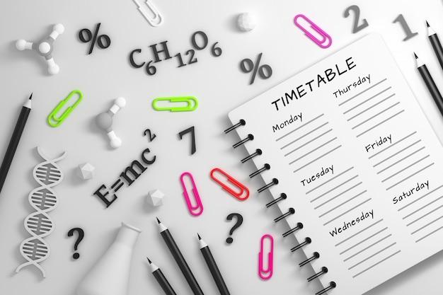 Caderno com calendário e utencils de ciência