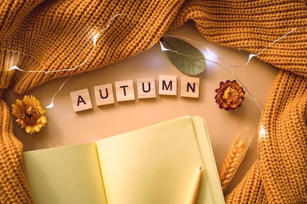 Caderno com conjunto de outono