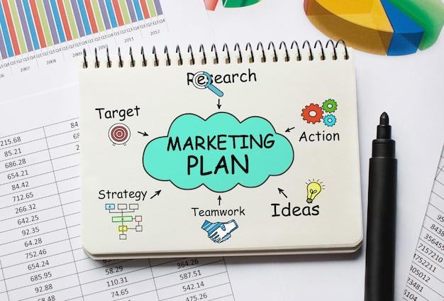 Caderno com ferramentas e notas sobre o plano de marketing