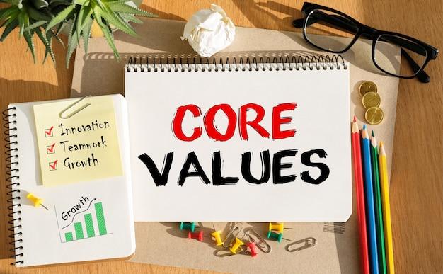Caderno com ferramentas e notas sobre os valores essenciais