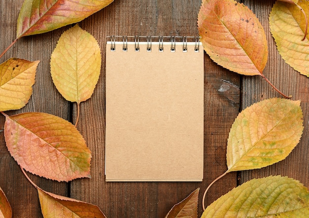 Caderno com folhas de outono