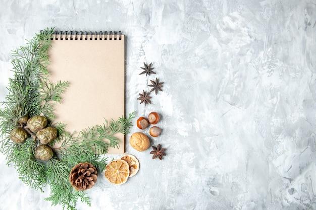 Caderno com vista de cima, fatias de limão secas, anis, ramos de pinheiro na superfície cinzenta