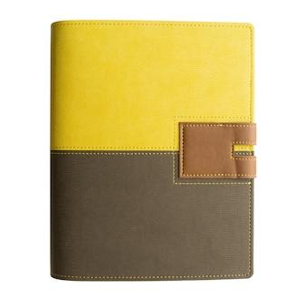 Caderno de capa amarelo-preto de couro