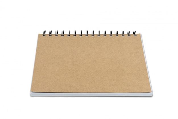 Caderno de página em branco, isolado no fundo branco