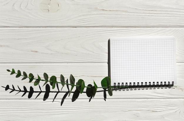 Caderno de vista superior com planta