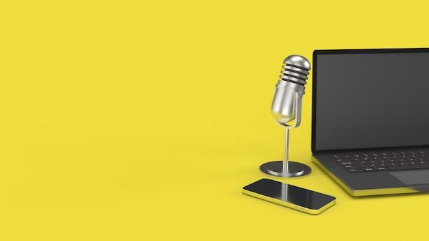 Caderno do mic do vintage e rendição 3d do smartphone para o conteúdo de podcast.