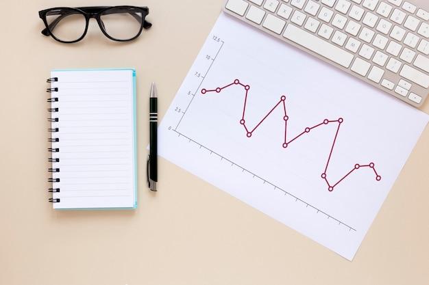 Caderno e gráfico de economia