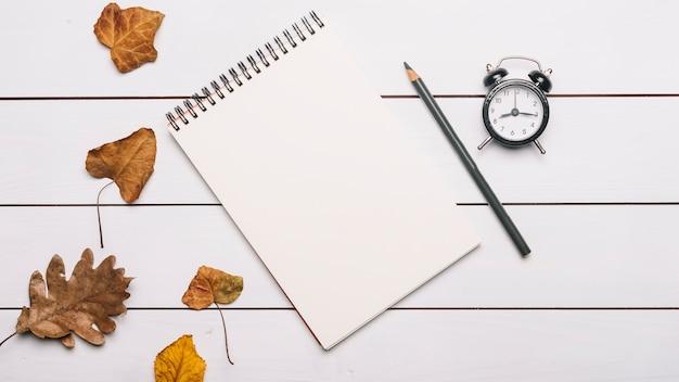 Caderno e lápis perto de folhas e despertador