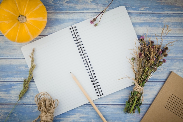 Caderno em branco com lápis e abóboras de outono