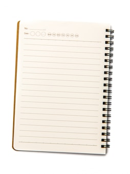 Caderno em branco sobre branco isolado