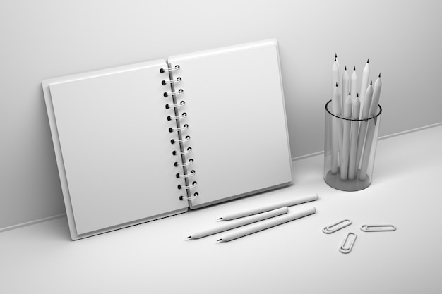 Caderno espiral aberto branco com tampa vazia em branco