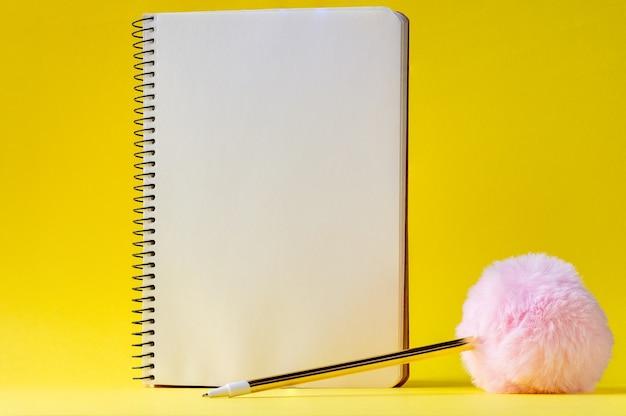 Caderno espiral aberto com folhas em branco e uma caneta com uma bola rosa fofa