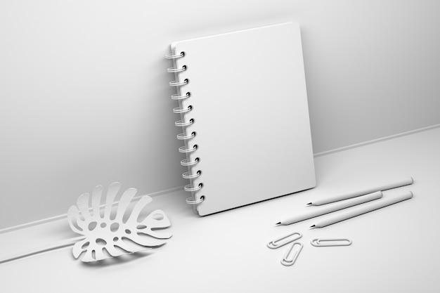 Caderno espiral branco com capa vazia em branco