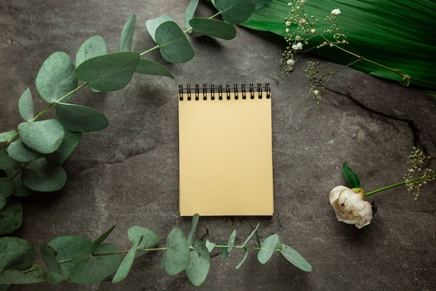 Caderno espiral em branco com lugar para texto em fundo cinza com folhas de planta e raminho de eucalipto