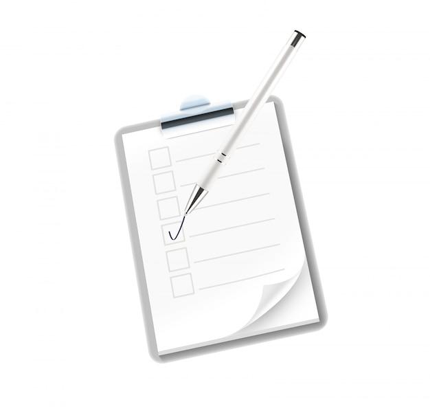 Caderno ícone com caneta isolado