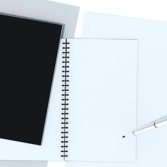 Caderno isolado com traçado de recorte