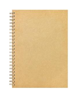 Caderno marrom feito de papel reciclado isolado