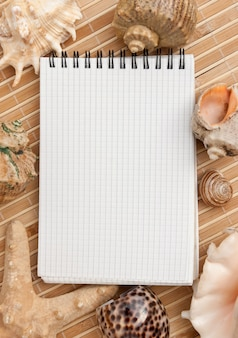 Caderno no fundo de tapetes e conchas do mar